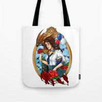 bioshock infinite Tote Bags featuring BioShock Infinite by Little Lost Forest