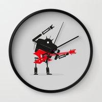 heavy metal Wall Clocks featuring Heavy Metal by DWatson