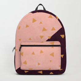 Gold hand painted triangles on color block blush burgundy color block Backpack