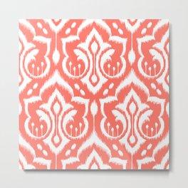 Ikat Damask Coral Metal Print