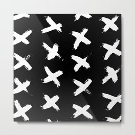 The X White on Black Metal Print