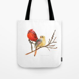 The Perfect Pair - Male and Female Cardinal by Teresa Thompson Tote Bag