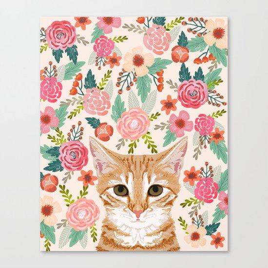 Tabby Cat florals cute spring garden kitten orange tabby cat lady funny girly cat art pet gifts  Canvas Print