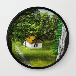Hause in Forest 1 Wall Clock