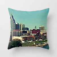 nashville Throw Pillows featuring Nashville Skyline by Sydney Smith