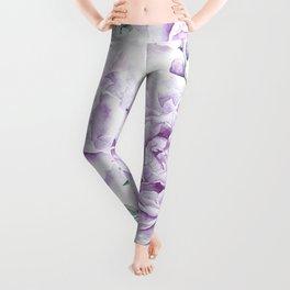 Pretty Purple Flower Garden Leggings