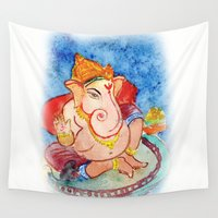 ganesh Wall Tapestries featuring ganesh ji.. by art dun (anup)