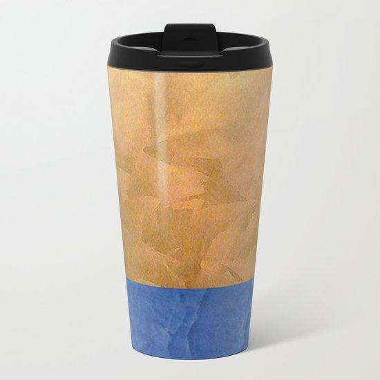 Copper Metallic With Tuscan Blue Stripe Trim Metal Travel Mug