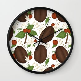 Hand-drawn coffee pattern for all coffee lovers Wall Clock