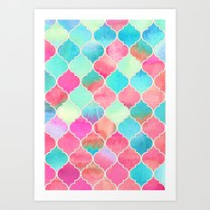 Watercolor Moroccan Patchwork in Magenta, Peach & Aqua Art Print