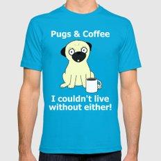 Pugs and Coffee MEDIUM Teal Mens Fitted Tee