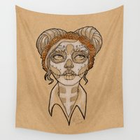 day of the dead Wall Tapestries featuring Day of the dead by Kira Smith Illustrations