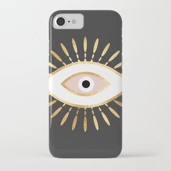 gold foil evil eye in blush iPhone Case