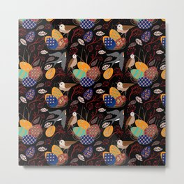 Nest of Pysanky Easter Eggs Nightingales and Swallows Metal Print