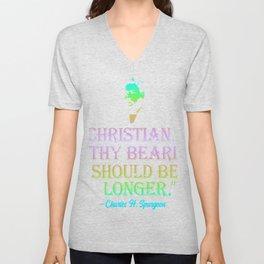 Christian Thy Beard Should Be Longer Charles Spurgeon Quote Rainbow Colors | Spurgeon Gear Unisex V-Neck
