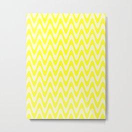 Cream Yellow and Electric Yellow Horizontal Waves Metal Print
