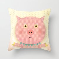 pooh Throw Pillows featuring Piggy Pooh by Silva Ware by Walter Silva