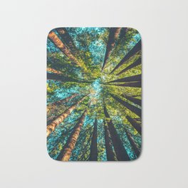 Looking Up At Trees In A Dense Forest Bath Mat