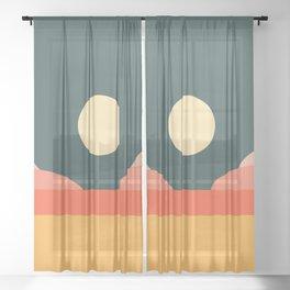 Geometric Landscape 14 Sheer Curtain