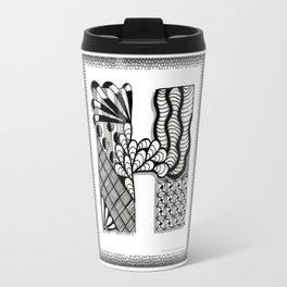 Zentangle H Monogram Alphabet Initials Travel Mug