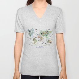 Cartoon animal world map for children, kids, Animals from all over the world, back to school, white Unisex V-Neck