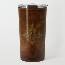 Antique Steampunk Compass Rose & Map Travel Mug