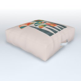 Quirky retro palm trees Outdoor Floor Cushion