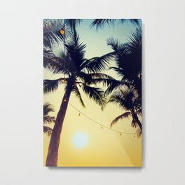 Vintage Palm trees with patio lanterns Metal Print