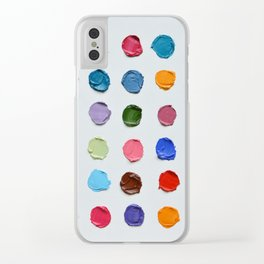 Rainbow Polka Daubs Clear iPhone Case