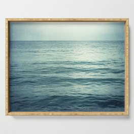 Seascape Photography, Teal Ocean Art, Dark Turquoise Minimal Sea Photo, Blue Ocean Coastal Print Serving Tray