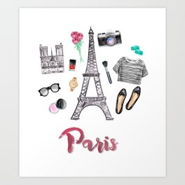 Watercolor Paris Fashion Items - Eiffel Tower Art Print