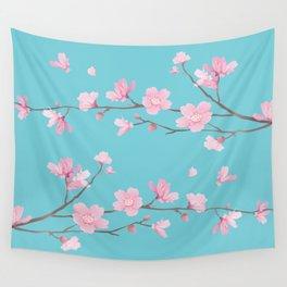 Cherry Blossom - Robin Egg Blue Wall Tapestry