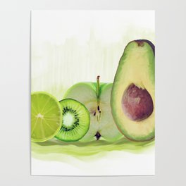 Fresh Green fruits watercolor painting Poster