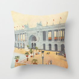 Colonnade at 1893 World's Fair in Chicago Throw Pillow