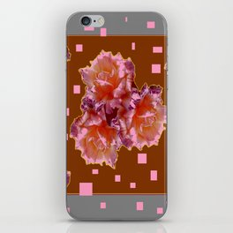 Grey Color & Coffee Brown Pink color old Rose flowers Pattern Ar iPhone Skin