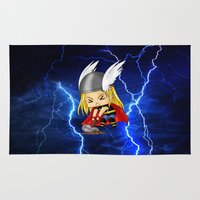 thor Area & Throw Rugs featuring Chibi Thor by artwaste