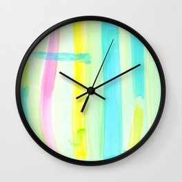 Live Free - Pastel Colors Minimalist Painting Modern Abstract stripe Wall Clock
