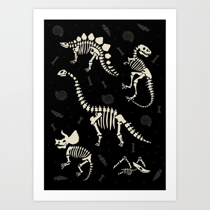 Dinosaur Fossils on Black Kunstdrucke