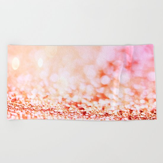 Pink shiny glitter - Sparkle Girly Valentine Backdrop on #Society6 Beach Towel
