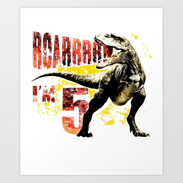 5th Birthday Gift 5 Year Old Boys Dinosaurs Present Art Print By Pnmerch