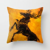 stag Throw Pillows featuring Stag by Narwen