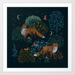 Forest Foxes Art Print