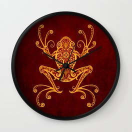Intricate Red and Yellow Tree Frog Wall Clock