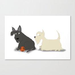 Two Scotties, Best Friends Canvas Print