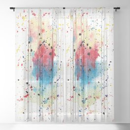 Watercolor Washes And Splashes  Sheer Curtain