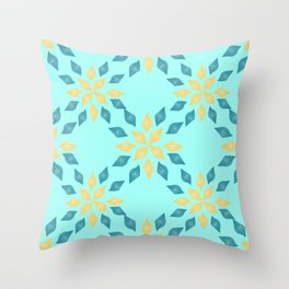 leaves and flowers summer pattern Throw Pillow
