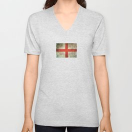 Old and Worn Distressed Vintage Flag of England Unisex V-Neck