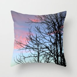 Skyscapes Pink Skies Silhouette Throw Pillow