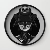 samurai Wall Clocks featuring Samurai by Giulio Rossi
