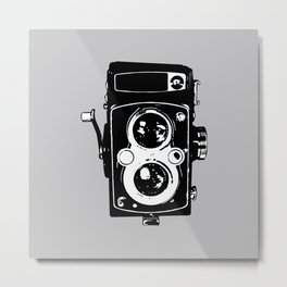 Big Vintage Camera Love - Black on Grey Background Metal Print